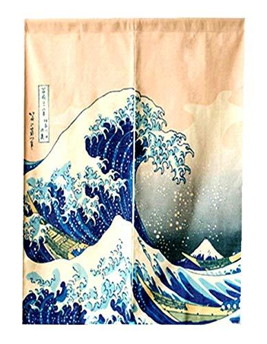 LIGICKY Japanische Gardinen Noren Lang Vorhang Türvorhang Verdicken Leinen Tapisseri für die Heimtextilien Raumteiler 85×120cm (Ukiyoe Hokusai The Great Wave Off Kanagawa)