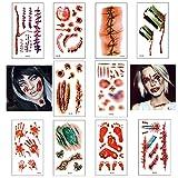 Pegatinas de tatuaje de Halloween 10 hojas Cicatrices de terror Pegatinas de tatuaje impermeables temporales Adecuado para adultos Hombres / Mujeres Niños / Niñas (03)