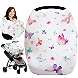 iLuvBamboo Nursing Cover for Babies  Car Seat Multi-Use Protector - Infant Carseat Canopy, Stroller, Shopping Cart, Highchair, Breastfeeding & Scarf. Best Baby Gifts for Registry & Baby Shower