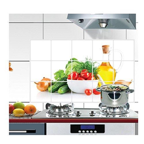 Tonsee 45 × 75 cm Oilproof Fett Proof Küche Wand Aufkleber Obst Muster Küche Aufkleber Aluminium Folie Wand Aufkleber Wand Dekor