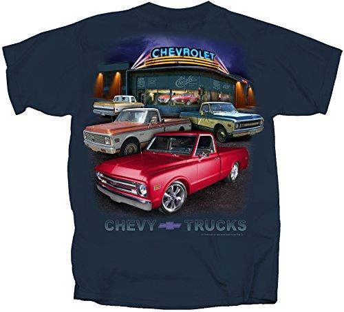 Joe Blow GM Chevy Truck Dealer Scene 67-72 Adult T-Shirt, Large, Blue Dusk