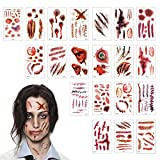 TAZEMAT Halloween Tatuajes Temporales 20 Hojas Tatuaje Cicatrices Herida Sangre Pegatinas Zombie Vampiro Maquillaje Horror para Fiesta de Disfraz Cosplay Mujeres Hombres Niños Múltiple Patrón