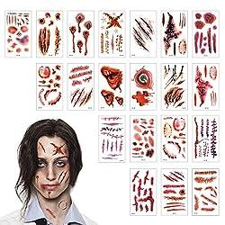 Ofertas Tienda de maquillaje: EFECTO REALISTA: los tatuajes temporales se diseñan inspirando en las verdaderas heridas y cicatrices en las películas o vida real y se ven un efecto horrrible de visión tridimensional que corresponde perfectamente al tema de Halloween A PRUEBA DE AG...