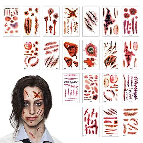 TAZEMAT Halloween Tatuajes Temporales 20 Hojas Tatuaje