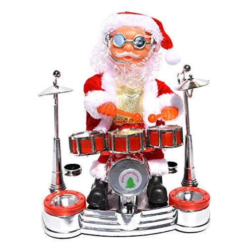 Toyvian Christmas Singing Dancing Santa Claus Play the Drum Toy Battery Operated Musical Moving Figure Holiday Party Supplies(No Christmas Song)
