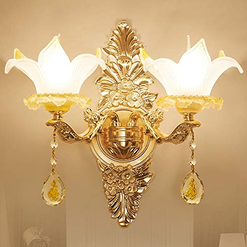 De enige goede kwaliteit Decoratie Bruin Zink Legering Wandlamp Europese Glas Wandlamp Villa Woonkamer Hotel Eenvoudige Slaapkamer Nachtlampje Dubbele Licht Wandlamp 43 * 48 (cm)