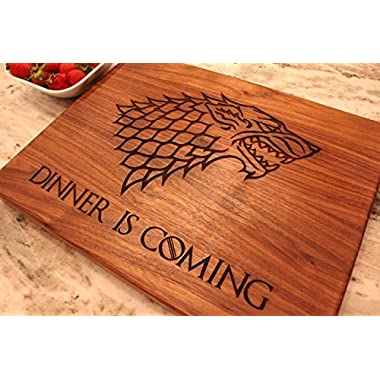 Game of Thrones Merchandise, Game of Thrones Walnut Wood Cutting Board made in the USA - Winter is Here, Dinner is Coming