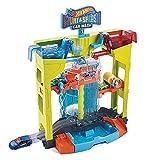 Hot Wheels City Cascada túnel de lavado, pista para coches de juguete, incluye 1 vehículo sorpresa que cambia de color (Mattel GRW37)