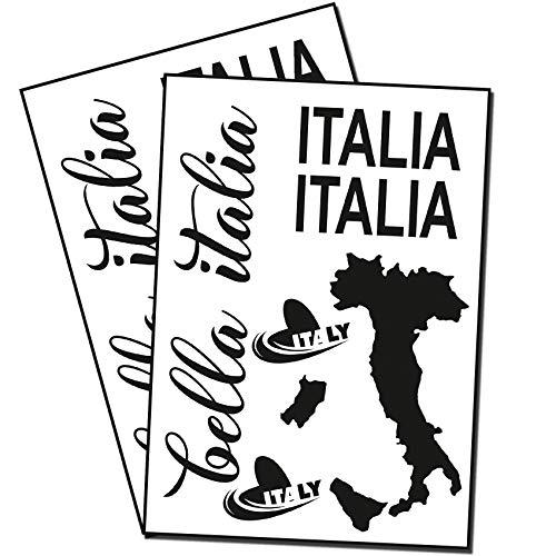 Finest Folia Bella Italia Aufkleber Set Italien für Auto Bus Wohnwagen Anhänger Motorrad Kfz Fahrzeug Autoaufkleber Italienische Karte Flagge Selbstklebend (K131 Schwarz Glanz)