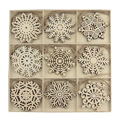 oshhni Creative 9 Shapes Wooden Snowflakes Christmas Holiday Pendants Ornaments