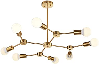 World of Chandelier Brass Mid Century Modern Semi Flush Mount Ceiling 8-Light Fixtures for Dining Kitchen Living Room and Hal