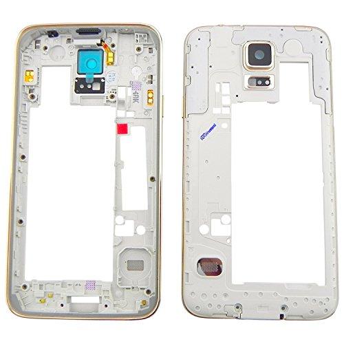 TOKA-VERSAND® - Mittel Rahmen für Samsung Galaxy S5 G900F Premium Mittelrahmen Gold Kamera Glas Tasten Mittelgehäuse