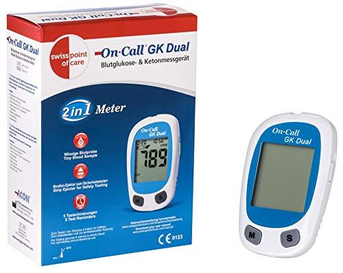 Swiss Point Of Care GK Dual medidor azúcar en la sangre y cetonas (mg/dl) | Para la medición precisa de la glucemia y las cetonas beta en sangre | Análisis rápido | Unidad de medida: mmol/l