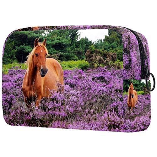 Kleine Make-up Tasche Braunes rotes Pferd für Geldbeutel Reise Make-up Pouch Kosmetiktasche für Frauen Mädchen 18.5x7.5x13cm
