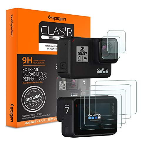 Spigen, Pellicola GoPro Hero 7 Black/6/5, Ritaglio Originale, [2+4] 2 Vetro + 4 Pellicola 6Pezzi, Pellicola Protettiva a Disposizione, Protezione per GoPro Hero 7 Black, Hero 6, Hero 5 Accessori