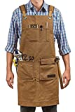 Luxury Waxed Canvas Shop Apron | Heavy Duty Work Apron for Men & Women with Pocket & Cross-Back Straps | Adjustable Tool Apron Up To XXL (Brown)