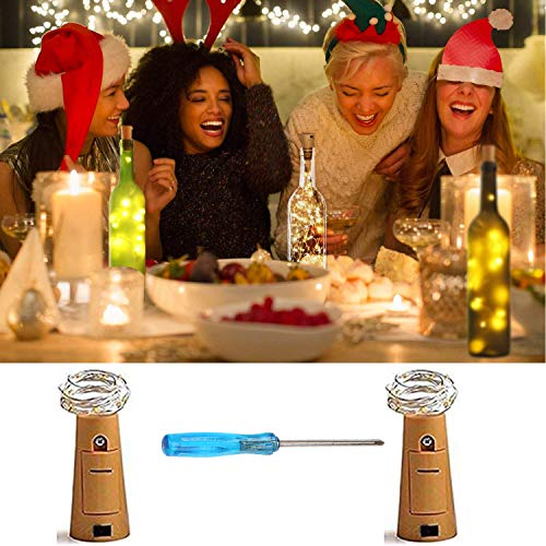 Cooo 2 Lamp Sets Wine Bottle Lights with Cork 20Led,6pre-Installed Battery, LED Fairy Lights Battery Operated DIY Room Party Christmas Halloween Wedding Birthday Dinner Bar Decor -Warm White