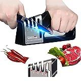 WARSUN Afilador de Cuchillos, 4 en 1 Profesional Knife Sharpener Manual de 3 Etapas Base de Acero Inoxidable Antideslizante para Cocina,Afilar Navajas y Tijeras de Embotados Muy Afilados Cuchillo