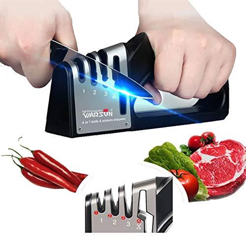 WARSUN Afilador de Cuchillos, 4 en 1 Profesional Knife Sharpener Manual de...