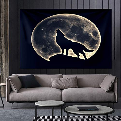 Tapiz de lobo de noche de luna llena tapiz de cama para colgar en la pared Boho Animal salvaje lobo manta de playa para dormitorio sala de estar Decor de pared 150x130 cm