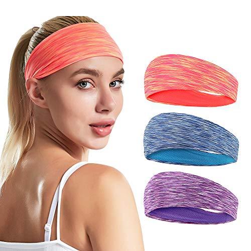 LATTCURE Stirnband Sport Damen 3er Pack, Stirnband Schweißband Turban Winter Stirnband für Alltag Yoga