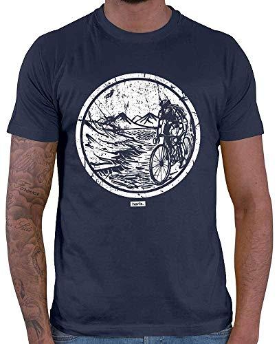 HARIZ Herren T-Shirt Mountainbike Biker Downhill Wandern Klettern Plus Geschenkkarten Navy Blau L