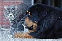 LHJOY 子供のパズル500ピースチベットのM猫と犬の動物子供たちの女の子のための誕生日プレゼントとホリデーギフト 52x38cm