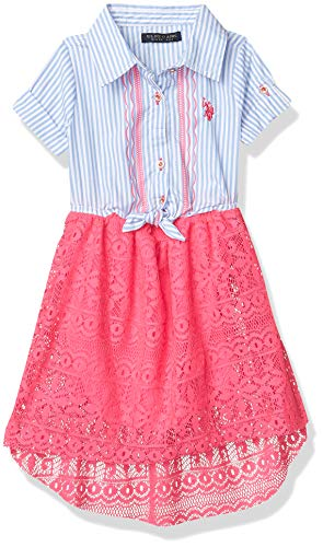 U.S. Polo Assn. Girls' Toddler Casual Dress, Woven Stripe lace Mix neon hot Pink, 2T