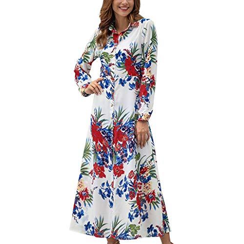 YCQUE Frauen Frühling Herbst Mode Lose Stehkragen V-Ausschnitt Freizeit Langarm Elegante Böhmischen Blumendruck A-Line Atmungs Party Strandkleid