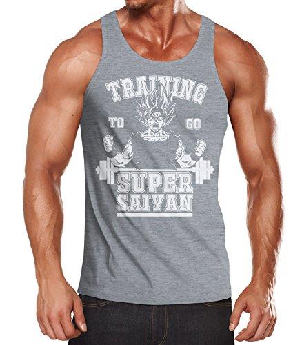 MoonWorks Herren Tanktop, Son Goku Super Saiyajin Saiyan, Training Gym Fitness Muskelshirt grau XL