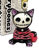 Furrybones Black Voodoo Mao Mao Cat with Wool Skeleton Monster Tabletop Sitting Figurine