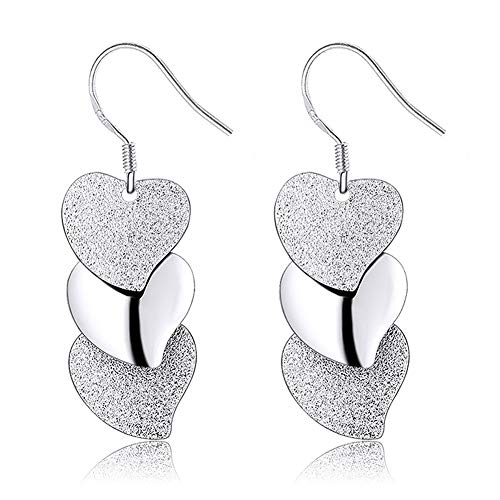 NOLOGO Herzförmige Ohrringe aus Sterlingsilber Lady Shining Sandy Ohrhaken Herzförmige Ohrringe im Studentenstil Distinguished (Color : Frosted Heart Earrings)