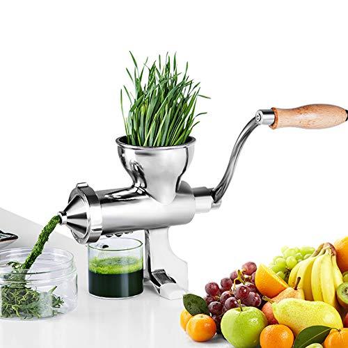 Manuelle Entsafter Weizengras Saftpresse Squeezer Obst Gemüse Entsafter 304 Edelstahl für Weizengras und Blattgemüse Edelstahl 3 Filter Ohne Strom (Manuelle)