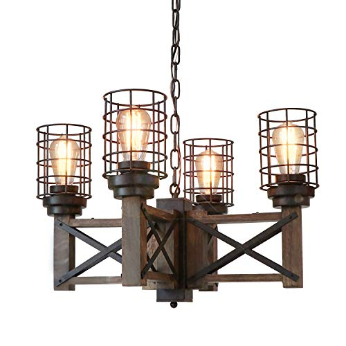 Eumyviv Wood Farmhouse Cage Rustic Chandelier Kitchen Island 4 Lights, 23.9' Industrial Dinning Table Pendant Lamp Vintage Edison Ceiling Light Fixture, Brown & Black(C0074)
