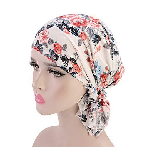 Allegorly Kopfbedeckung Chemo Damen Bandana Kopftuch für Krebs, Vintage-Druck Indischer Hut,Chemotherapie, Haarausfall, Schlaf, Make up