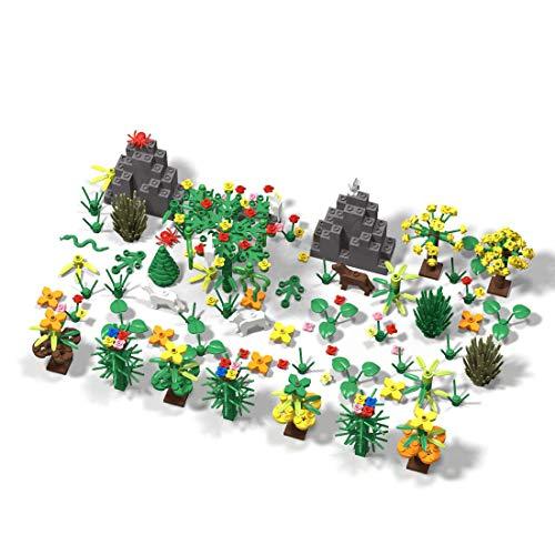Seasy Juego de accesorios para escena de jardín botánica, 314 piezas, juego de accesorios para placa base con animales y plantas, compatible con Lego Baumhaus 21318
