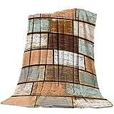 Costura de Textura de Tablero de Madera de Color Patrón Manta de Franela Plaid Suave Acogedora Mullida Cálida Mantas de Lujo la 100% Microfibra para Modernas Colcha Sofa Manta-130x150cm