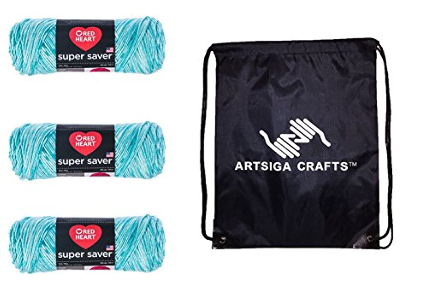 Red Heart Super Saver Knitting Yarn Topaz 3-Skein Factory Pack (Same Dyelot) E300-3974 Bundle with 1 Artsiga Crafts Project Bag