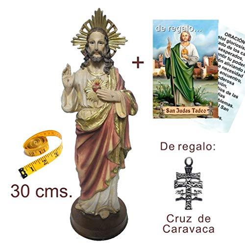 Figura Sagrado Corazón de Jesús 30 cms. Pintada a Mano. De Regalo Cruz de Caravaca y Estampa. También de Regalo estampas de San Expedito, San Pancracio y San Miguel.