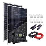 AUECOOR 240 Watt 12V Monocrystalline Solar Panel Module Kit: 2 x 120w Mono Solar Panel+20A LCD Display Solar Controller for...