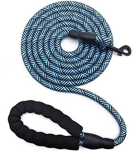 Mycicy Hundeleine mit bequemem, gepolstertem Griff, robuste Hundeleine für mittelgroße und große Hunde, Spazierengehen, Training, Wandern(blau,10ft)