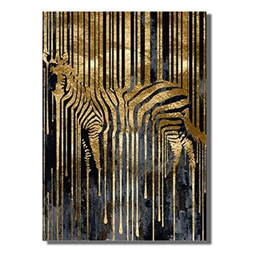 mmzki Cuadros de la Sala de Estar Arte Abstracto Cebra Dorada Lienzo nórdico Pintura Moderna Carteles e Impresiones Cuadros escandinavos Imagen de Arte de Pared para Sala de Estar No Frame