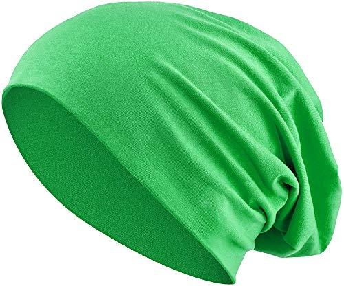 Jersey Baumwolle elastisches Long Slouch Beanie Unisex Mütze Heather in 35 (3) (Green)