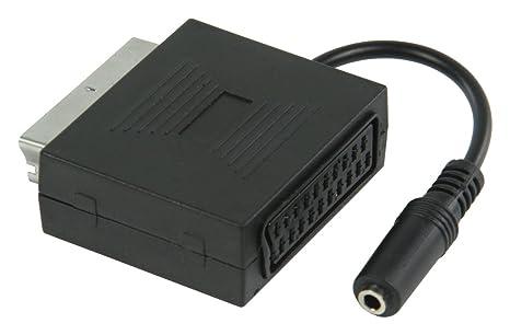 Valueline VLVP31930B02 – Adaptador SCART macho a SCART hembra con salida de audio para auriculares estéreo de 3,5 mm hembra, euroconector con salida para auriculares estéreo, color negro: Amazon.es: Electrónica