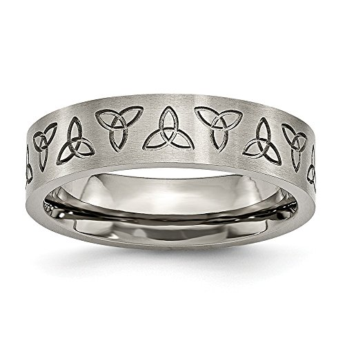 Solid Titanium Flat Engraved Trinity Irish Celtic Knot Symbol Matte Brushed Finish 6mm Wedding Band Ring Size 10