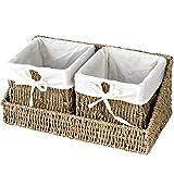 Cesta de mimbre con bandeja de almacenamiento y forro extraíble (2 cestas de color natural con bandeja)