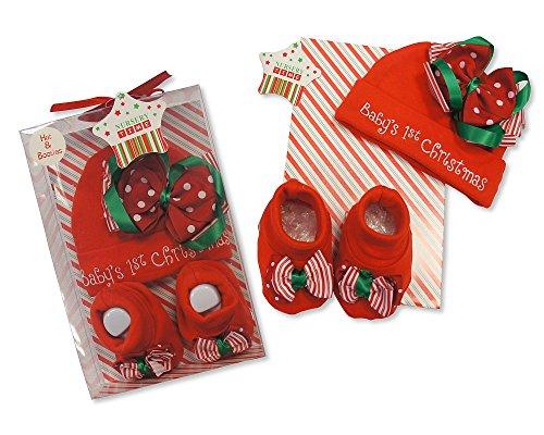 Ensemble de cadeau de Noël bébé garçons filles 0–3 mois Bonnet et chaussons