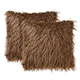 uxcell Pack of 2 Soft Long Shaggy Faux Fur Throw Pillow Covers,Soft Plush Cushion Cover, Square Throw Pillowcases for Sofa Couch,18' x 18', Dark Brown