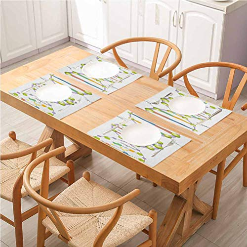 FloraGrantnan Dining Table Decoration Placemats Table Mats, Educational Colorful Structure of DNA Genetic Code Amino Acids Nucleotides Scienti, Great for Everyday Use Inside Or Outside, Set of 6