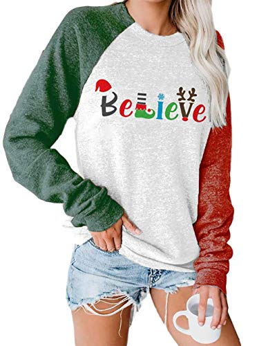 BKTOPS Women's Merry Christmas Casual Christmas Tree Print Sweatshirt Star Print Colorblock Sweatshirt